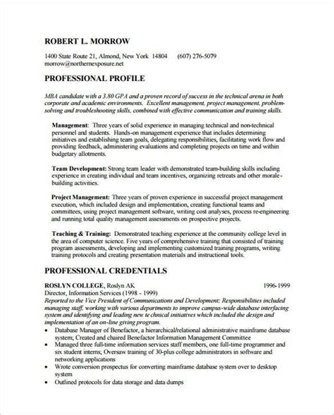 Mba On Resume by Mba Application Resume Sle Best Professional Resumes