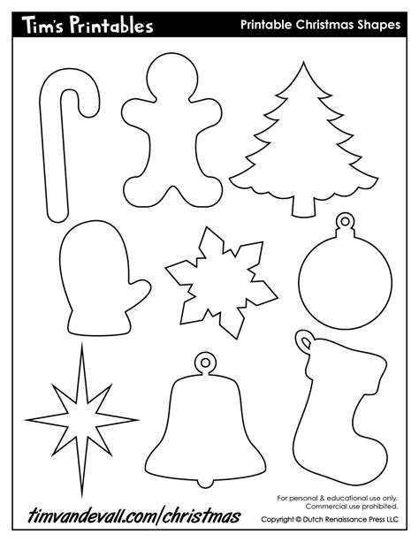 Printable Holiday Shapes | printable christmas shapes christmas shape templates