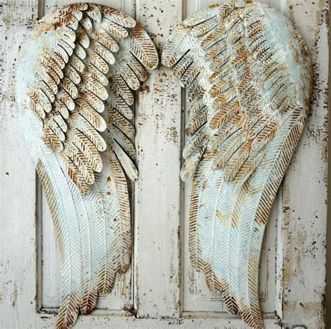 Alas Foto Motif Shabby Chic S002 metal wings wall hanging home decor pale blue shabby cottage chic accented white