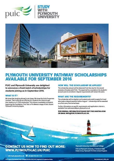 plymouth scholarships plymouth pathway scholarships available for