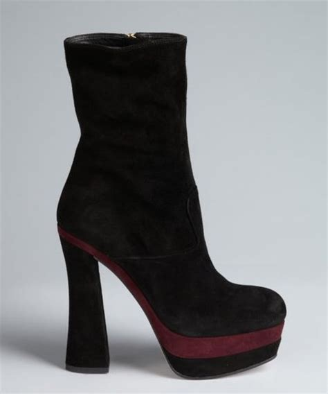 miu miu black and plum suede colorblock square toe