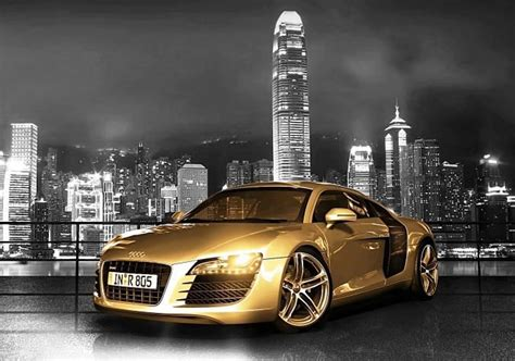 audi r8 gold gold chrome audi r8 the famous supercar car tuning