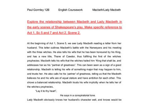 macbeth themes relationships in macbeth explore the relationship between macbeth and lady macbeth