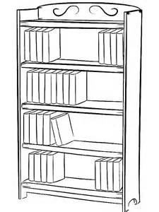 How To Draw A Bookshelf bookcase with books coloring pages