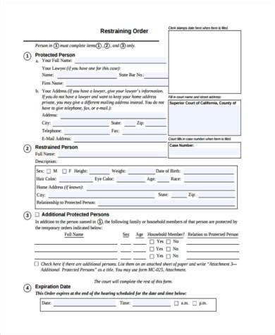 printable restraining order forms restraining order form sles 7 free documents in pdf