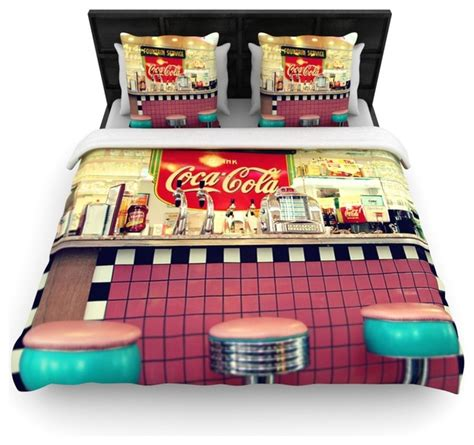 Coca Cola Bedding Sets Sylvia Cook Quot Retro Diner Quot Coca Cola Woven Duvet Cover 88 Quot X 88 Quot Contemporary Duvet