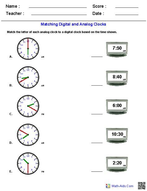 Analog Clock Worksheets 2nd Grade