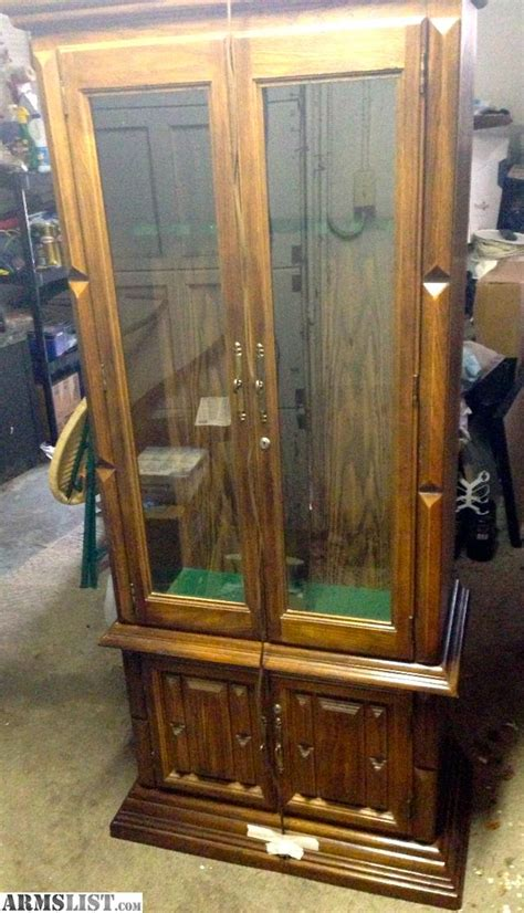 Solid Oak Gun Cabinets For Sale armslist for sale solid oak gun cabinet holds 8