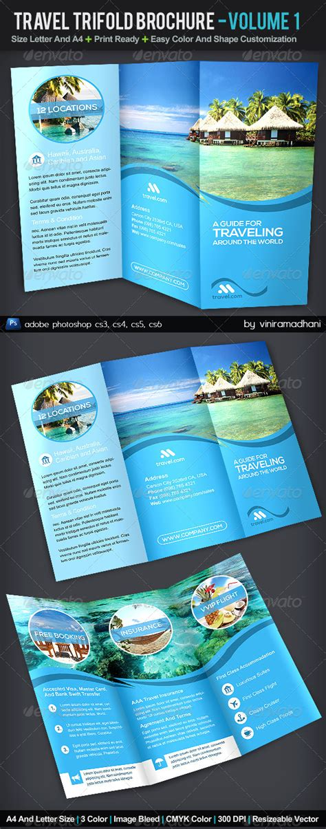 brochure templates for photoshop cs5 travel trifold brochure volume 1 adobe photoshop