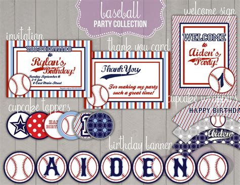 printable baseball party decorations baseball printables party package misc pinterest