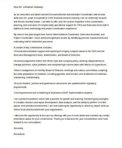 Senior Executive Cover Letter by Sle Executive Assistant Cover Letter 7 Exles In Word Pdf