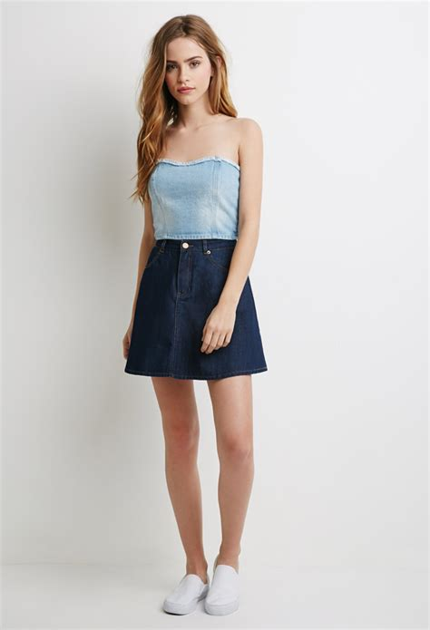 light blue strapless top lyst forever 21 strapless denim crop top in blue