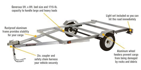 lightweight aluminum boat trailers free shipping ultra tow 5ft x 8ft aluminum utility