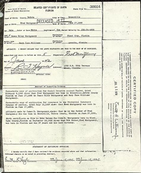 Florida Vital Records Birth Certificate Delayed Birth Record Fred Montgomery