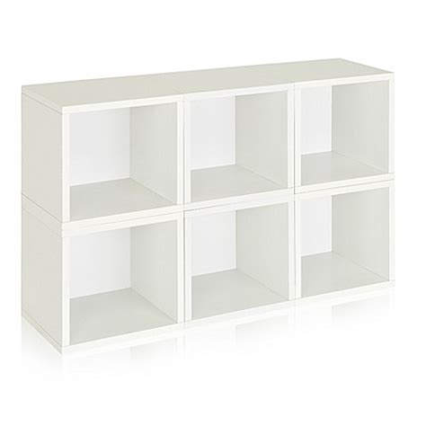 6 cube bookcase white buy way basics 174 storage cubes and bookcase in white set of 6 from bed bath beyond