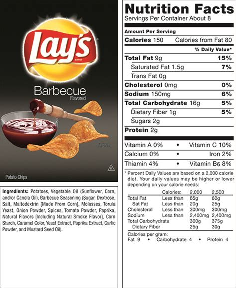 the gallery for gt lays potato chips nutrition facts