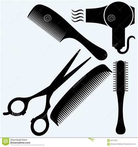 Hair Dryer X5 scissors comb for hair and dryer stock vector image