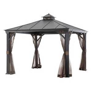 Allen Roth Metal Top Gazebo by Allen Roth 10 Ft X 10 Ft Black Hardtop Gazebo Lowe S