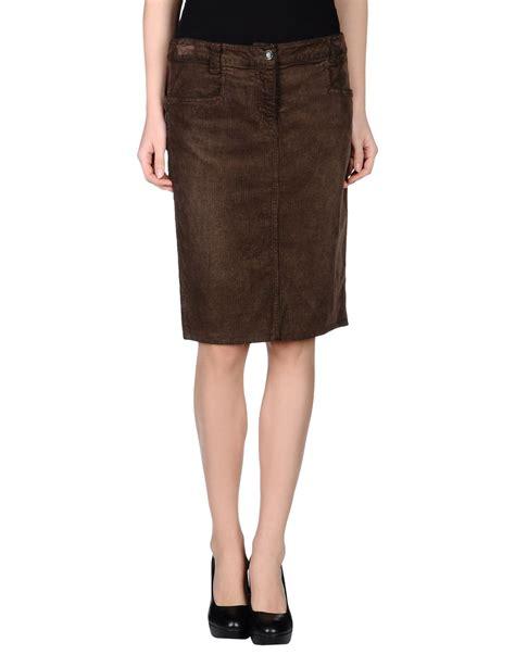 armani knee length skirt in brown brown lyst