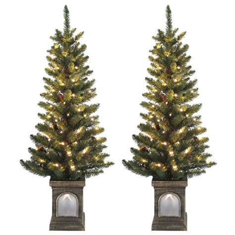 set of 2 pre lit 4ft 120cm green pine cone christmas pathway trees