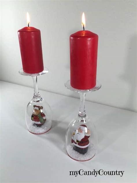decorare candele natalizie fai da te portacandele fai da te con calici di vetro decorano il