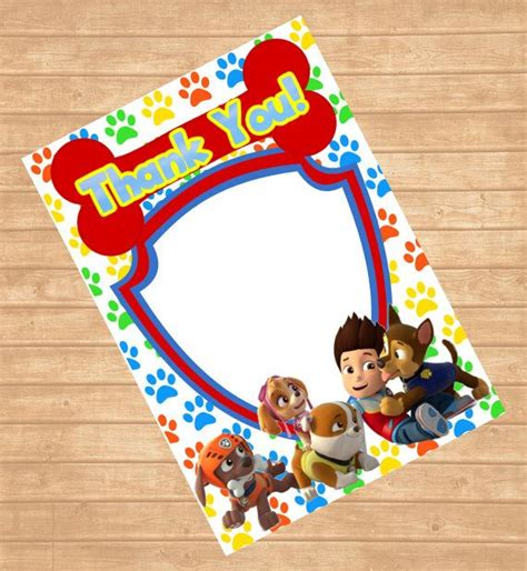 paw patrol thank you card template paw patrol thank you card blank paw patrol by