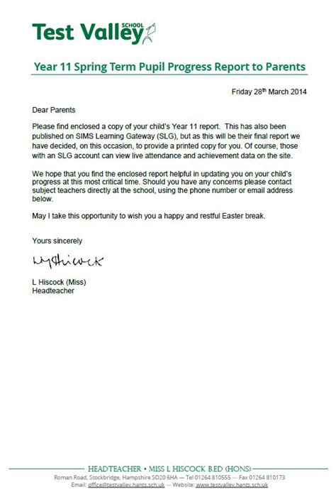 Progress Report Letter To Parents Test Valley School Year 11 Term Pupil Progress