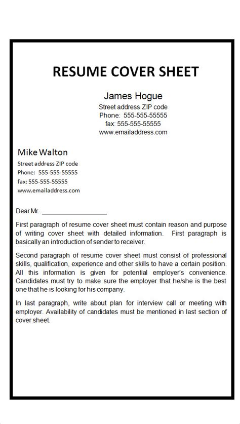 Cover Page Template For Resume by Word Fax Cover Letter