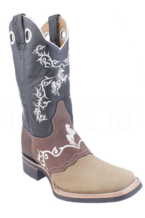 imagenes de botas vaqueras viejas botas vaqueras rodeo bordada piel con nobuck chata