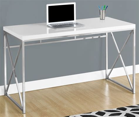 Glossy White 48 Quot Computer Desk From Monarch Coleman White Shiny Desk