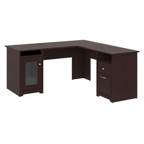 L Shaped Cherry Desk Bush Cabot 60 Quot L Shaped Computer Desk In Harvest Cherry Wc31430 03k