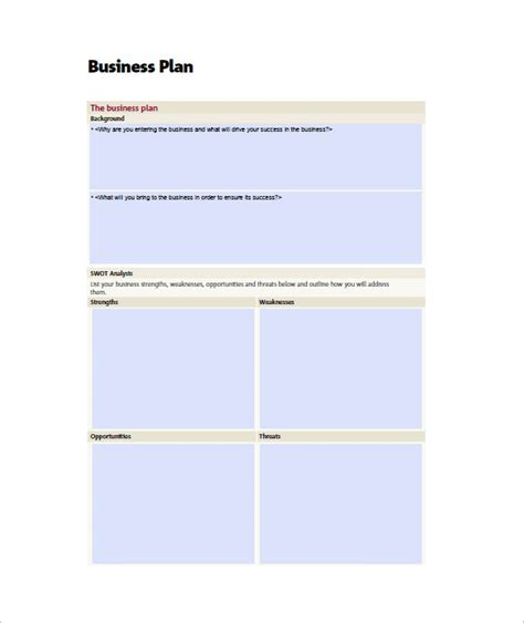 mini business plan template small business plan template 16 free sle exle