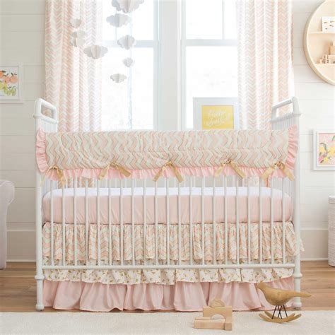 designer crib bedding pale pink and gold chevron crib bedding carousel designs