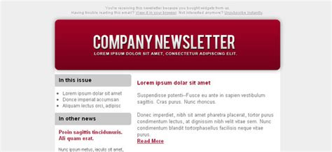 Colorful Email Newsletter Left Sidebar Free Mail Templates Colorful Email Templates