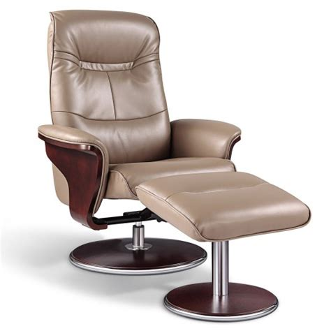 Modern Leather Recliner With Ottoman Artiva Usa Modern Bend Wood Latte Leather Swivel Recliner With Ottoman Set
