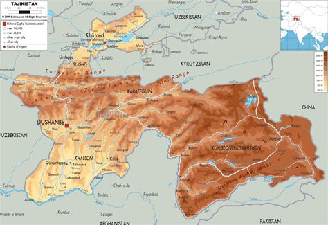 tajikistan map physical map of tajikistan ezilon maps