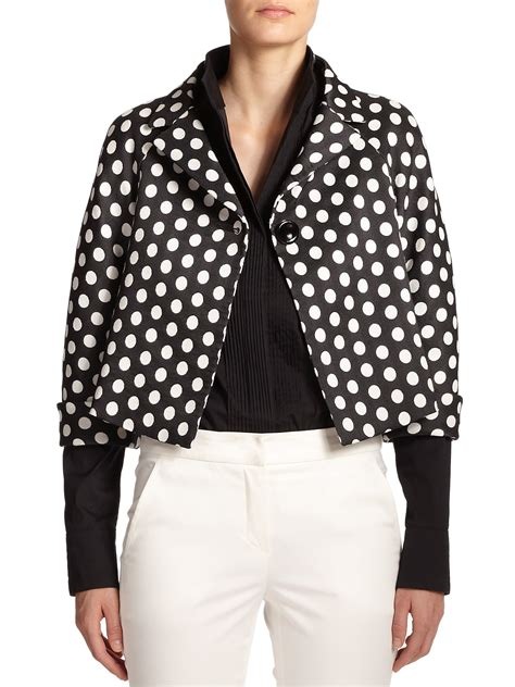 dot pattern jacket lyst armani cropped polka dot jacket in black