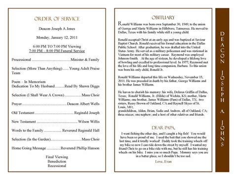 obituary program template obituary program sle obituary template memorial