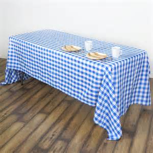 60x102 quot blue on white gingham checkered polyester tablecloth