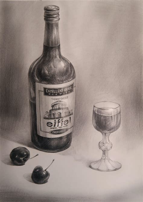 how to a wine bottle l wine bottle and glass drawing imgkid com the image