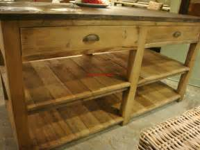 reclaimed pine wood kitchen island with blue top