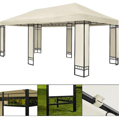 pavillon 8 eckig metall doppel pavillon 4x6m metall creme partyzelt gartenzelt
