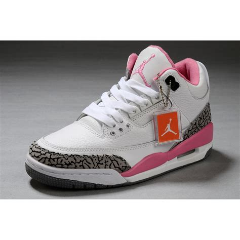 womens jordans shoes air 3 retro white pink cement grey price