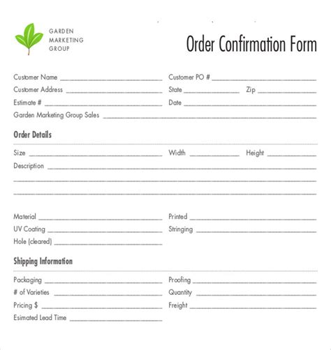 order confirmation form bakery order forms bakery forms