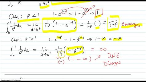 e infinity 0 analysis of integral from 0 to 1 of 1 x p and 0 to