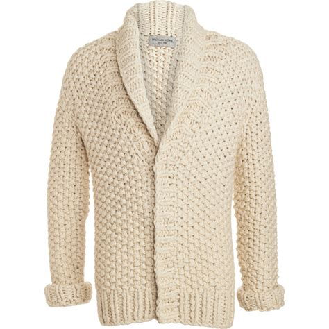 mens chunky knit cardigan michael kors chunky knit cardigan in beige for lyst