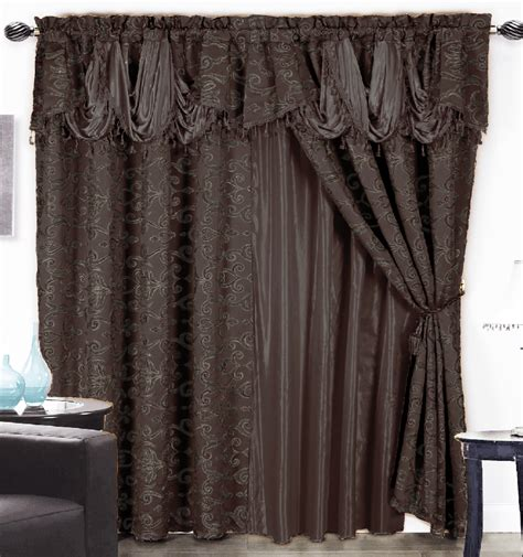 waterfall curtain valance 4 pc luxurious satin jacquard damask curtain set waterfall