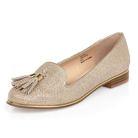 gold tassel loafers river island gold metallic tassel loafers in metallic lyst