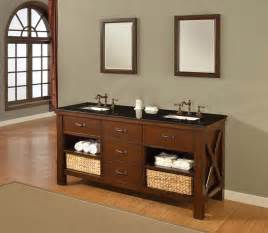furniture style bathroom vanity cabinets 70 quot mission bathroom vanity sink console direct to