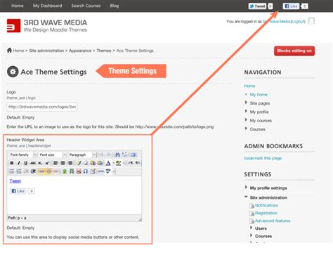 moodle themes settings how to add twitter and facebook buttons to your moodle